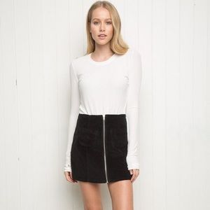 Brandy Melville Black Corduroy Front Zip Skirt